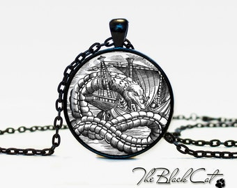 Sea Monsters pendant  Sea Monsters jewelry Vintage Ship necklace Antique Style Ship Sea Monsters Antique Nautical Maps (PS0014)