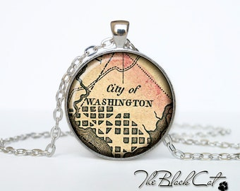 Vintage map of Washington pendant Old map of Washington necklace Antique map of Washington jewelry (PVM00003)
