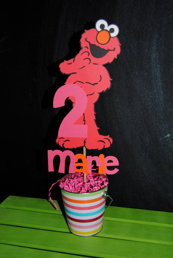 Elmo Cake Decorations : Elmo Cake Topper With Childs Name by UniquePartyCraft on Etsy