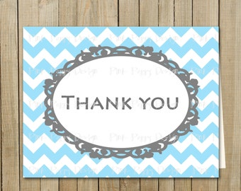 Trendy Blue with Gray Chevron Thank You Card, Birthday, Shower, Graduation, Every Day, Custom Digital File, Printable