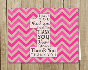 Pink Chevron Thank You One Card, Birthday, Custom Digital File, Printable