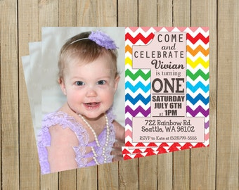 Rainbow One First Birthday Invitation, Printable, Custom Digital File