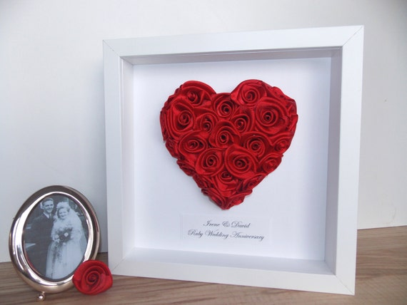 Alternative 40th Wedding Anniversary Gifts : ... Framed Picture Heart of Roses Anniversary / Wedding / Engagement Gift