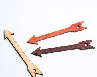 3 Large laser cut arrows. Unfinished wood. Jewelry supply.