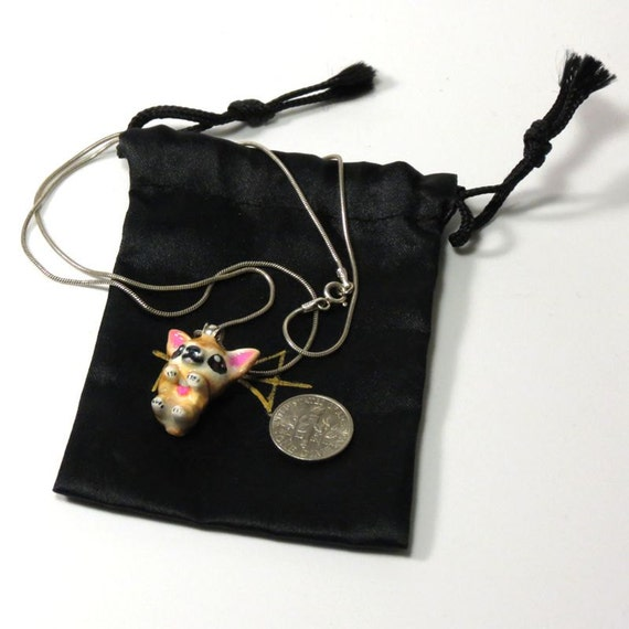 "Chihuahua: Hand sculpted, carved and painted 1"" pendant on 20"" sterling chain"