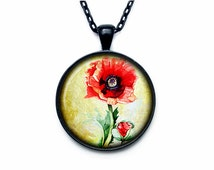 Poppy necklace Poppy pendant Poppy  jewelry nature pendant