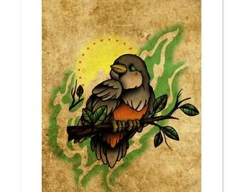 Robin, Neo-Traditional Tattoo Flash, Old School, Art Print 12x16