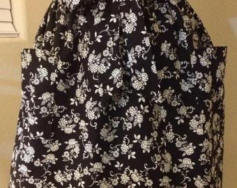 Black and White Floral Design Half Apron