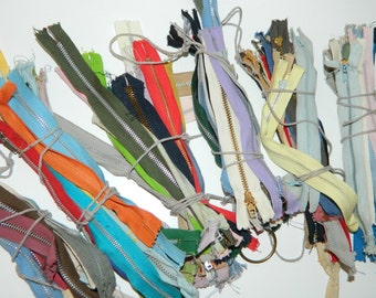 "SHORT Metal Zippers, Sizes range 4"" to 10"", Lot of 15, Multi-color"