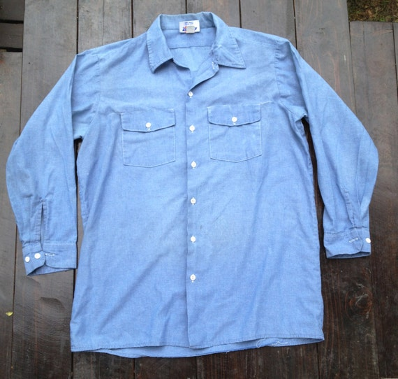 Usa made dickies chambray work shirt mens by provenfootbridge for Usa made work shirts