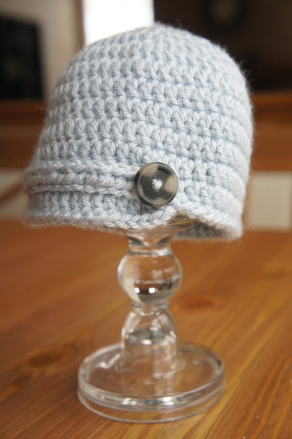 Pale Blue Crochet Newsboy Hat