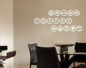 Coffee Wares Circle Border Lettering DIY Modern Kitchen Wall Art Vinyl Decals Stickers for home cafe decor words fg-12