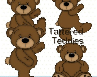 Tattered Teddies - Digital Clipart