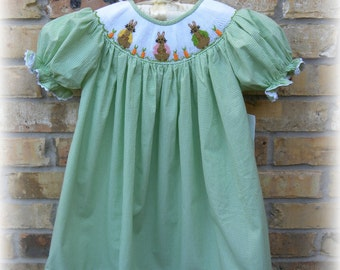 Smocked Dress, Perfect Spring Bunny Bishop Dress in Lime Green Gingham