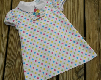 Girls Smocked Dress, Colorful Polka Dots with Smocked Flowers...CLEARANCE