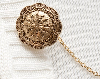 Sweater Clip - Gold Medallion Sweater Guard