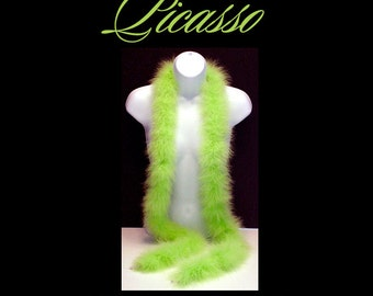"""Marabou Feather Boa LIME GREEN great for trim, millinery, wings, costumes, puffs, crafts - 1ft (12"""") strips"""