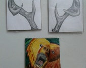 Original Keefe Overby drawing: ACEO trio collection brown bear and deer antlers
