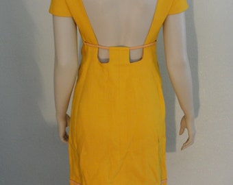 Vintage 1960s Orange Belted Dress with Cut Out Back and Side Pockets / avant garde
