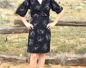 SALE 1970s Black Abstract Floral Day Dress