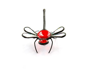 BIG stained glass dragonfly bug home decor red colour