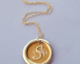 Wax Seal Necklace with Gold Paint