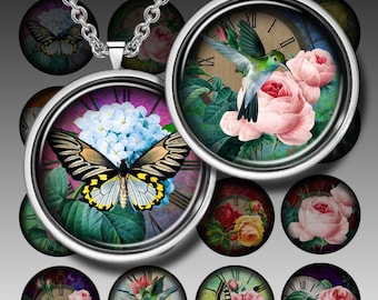 """OLD TIME - Digital Collage Sheet - 1,3/4""""  circles - Printable images for pendants magnets bottle caps paper craft"""