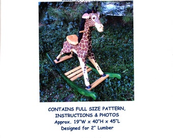 Large Deluxe Woodworking Plans for Rocking Giraffe for Kids 202 Rocker