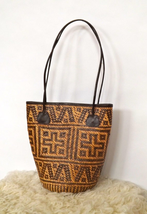 Woven Yarn Basket : Vintage woven grass basket tote yarn knitting by