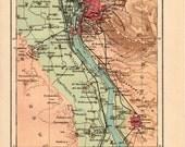 1908 Antique Map of Cairo and Pyramids, Locations of the Pyramids, Egypt, Nile River, Saqqara, Giza Necropolis - Craftissimo