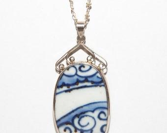 Antique blue & white Porcelain Pendant Necklace