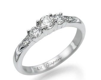 White Gold 3 Stone Ring, Engagement Ring, Wedding Ring, Diamond Ring, Promise Ring, Bridal Ring, Art Deco Ring, 14k Gold Ring, Gift