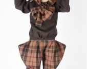 Boys Girls Check Wool pants Linen Shirt with Check Scarf. Linen suit