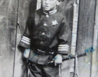 Vintage 1920's Little Boy in Police Officers Costume Snapshot Photo - Free Shipping