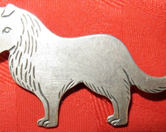 Cute 1970's Silver Tone Collie Dog Brooch Pin - Free Shipping