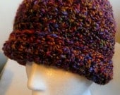 Crochet Beanie Hat, Roll Up Brim Hand Made Multi Colored