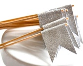 Silver Glitter Cupcake Flag Toppers Set of 12 Wedding Shower  Birthday