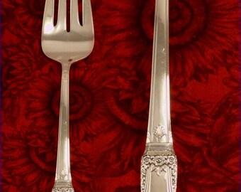 Rogers FIRST LOVE Meat Serving Fork Vintage 1937 Art Deco Silverware by International 1847 Rogers