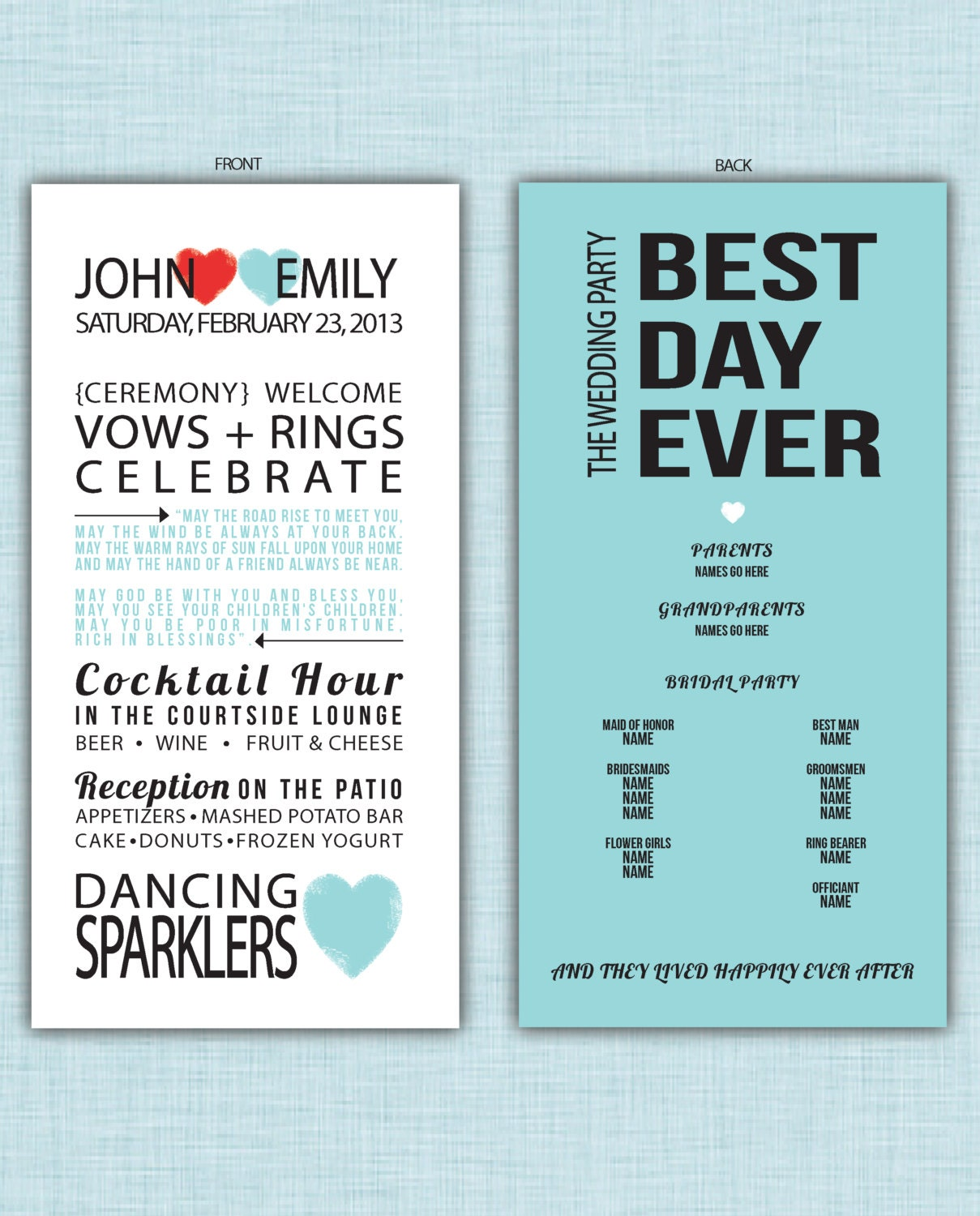 Wedding program best day ever hearts for Best day for a wedding