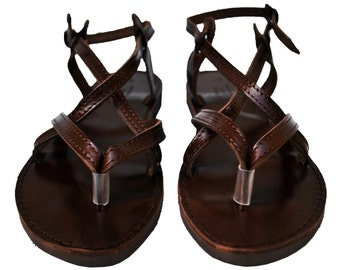 Dark Brown Double Leather Sandals