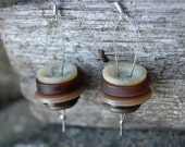 """Rustic Brown Vintage Stacked Button Earrings - """"Millstone"""""""