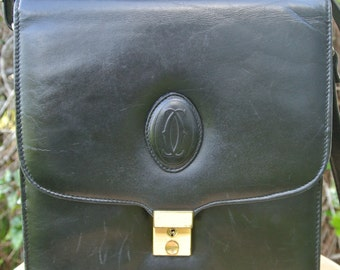 Cartier Paris 80s Black Leather Crossbody Shoulder Bag Purse with Locket & Key