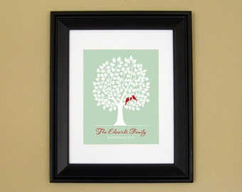 10th Wedding Anniversary - 5 10 15 Year Anniversary - Family Sign - Last Name Art - Personalized Family Tree with Birds - 8x10 or 11x14
