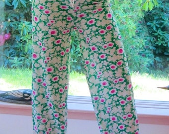 FLOWER POWER 70'S hippie gypsy boho girl wide leg yoga festival summer beach pants with drawstring waist