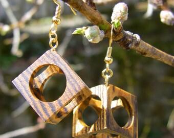Hollow Cube Bocote Wood Earrings - Large
