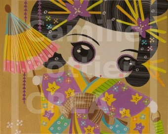 Geisha in purple Kimono