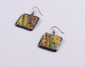 Polymer clay earrings Embossed green square