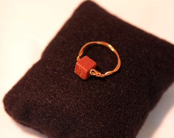 Goldstone and Copper wire ring size 5.5