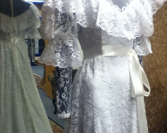 1970's Vintage Lace Victorian Style Wedding Gown