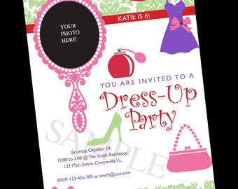 Dress Up Birthday Party Invite, digital file, 5 x 7 inches